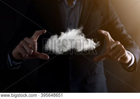 Businessman Man Hand Holding Cloud.cloud Computing Concept, Close Up Of Young Business Man With Clou