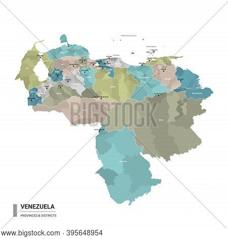 Venezuela Higt Detailed Map With Subdivisions. Administrative Map Of Venezuela With Districts And Ci