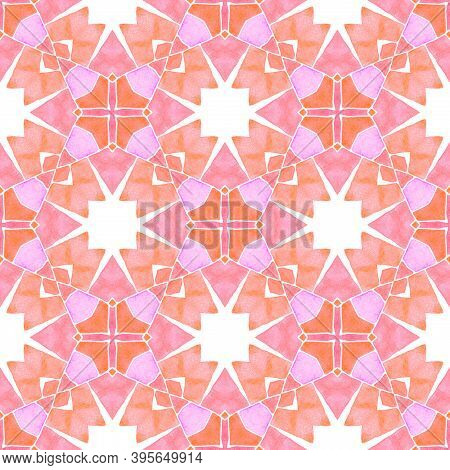 Watercolor Ikat Repeating Tile Border. Orange Curious Boho Chic Summer Design. Textile Ready Ecstati