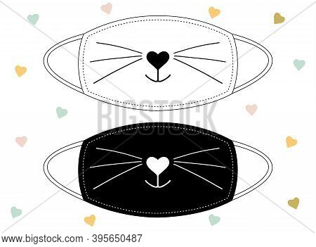 Sweet Smiling Cat Snout Black On White Background And Inverted. Nose In The Form Of A Heart And A Ca