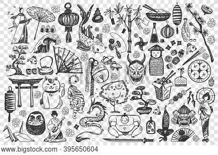China Doodle Set. Collection Of Chalk Pencil Hand Drawn Sketches Templates Of Chinese Culture Archit