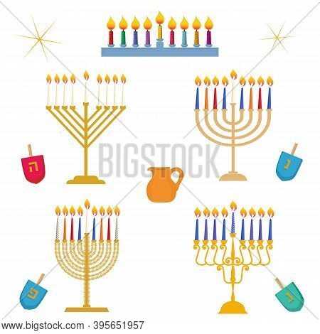 Different Types Of Hanukkah, Festival Of Light, Traditional Golden Menorah Candelabrum With Colorful