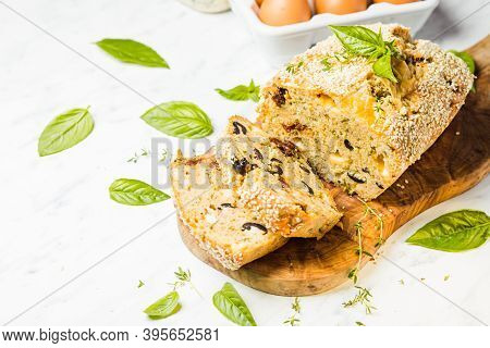 The Appetizing Cake Filled With Olives And Feta Cheese