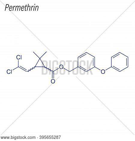 Vector Skeletal Formula Of Permethrin. Drug Chemical Molecule.