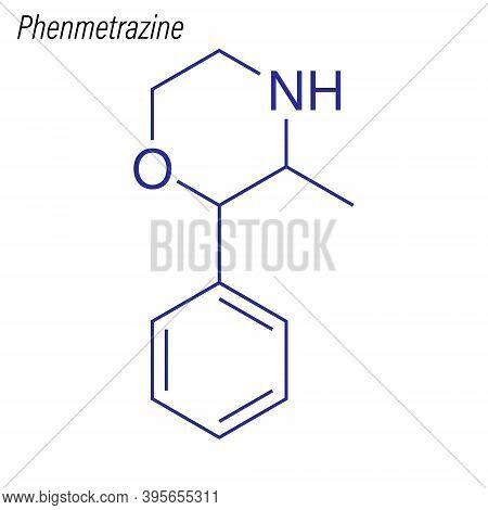 Vector Skeletal Formula Of Phenmetrazine. Drug Chemical Molecule