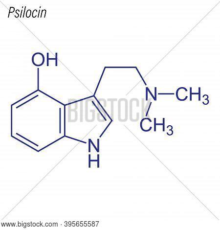 Vector Skeletal Formula Of Psilocin. Drug Chemical Molecule.