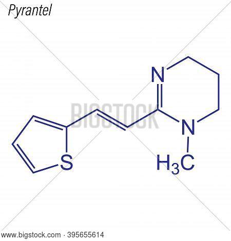 Vector Skeletal Formula Of Pyrantel. Drug Chemical Molecule.
