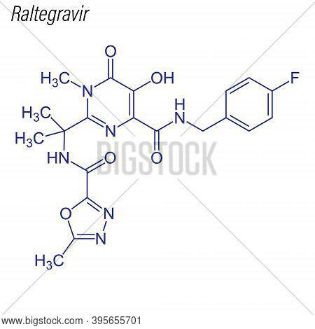 Vector Skeletal Formula Of Raltegravir. Drug Chemical Molecule.