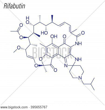 Vector Skeletal Formula Of Rifabutin. Drug Chemical Molecule.