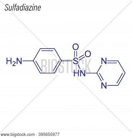 Vector Skeletal Formula Of Sulfadiazine. Drug Chemical Molecule.