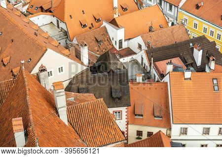 Roofs Of The Old Town In Cesky Krumlov In The South Bohemian District