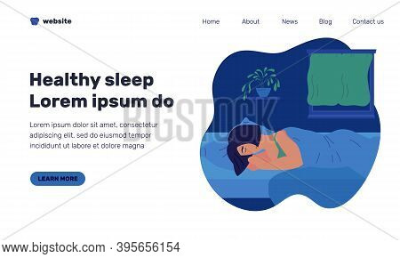 Healthy Sleep Web Page Template With Illustration Of Sleeping Girl At Night. Character Taking Rest O