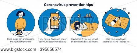 Covid Prevention Tips Web Banner. Girl Cooking Meat, Calling Doctor. Ill With Coronavirus Girl Sleep