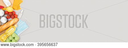 Banner With Food And Medicines Donations On Grey Background With Copyspace - Pasta, Fresh Vegatables