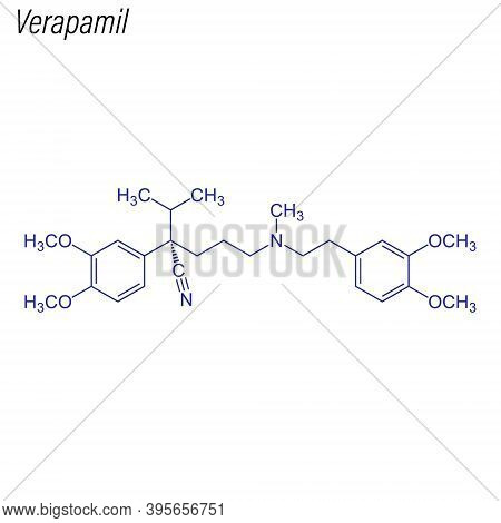 Vector Skeletal Formula Of Verapamil. Drug Chemical Molecule.