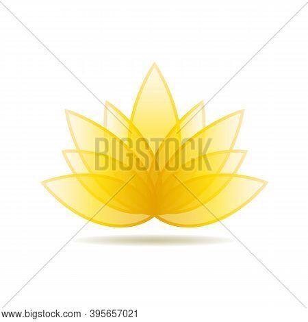 Golden Lotus Symbol, Spa Icon. Floral Label For Design Wellness Industry. Jpeg Illustration