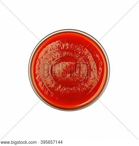 Close Up One Transparent Glass Bowl Of Red Ketchup Tomato Sauce Isolated On White Background, Top Vi