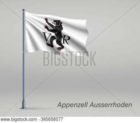 Waving Flag Of Appenzell Ausserhoden - Canton Of Switzerland On