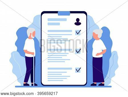 Senior Man And Woman Consultation Plan. Health Monitoring In Old Age. Verification And Decoding Of A