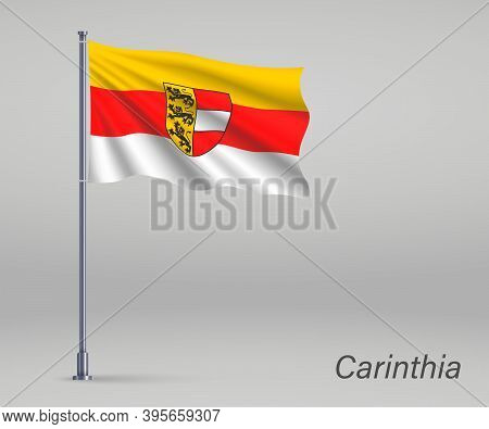 Waving Flag Of Carinthia - State Of Austria On Flagpole. Templat