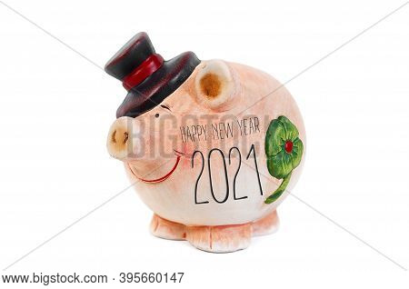 Miniature Pig Isolated With Happy New Year 2021