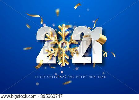 2021 Blue New Year Background . Holiday Background With Golden Snowflake And Date 2021. Vector Illus