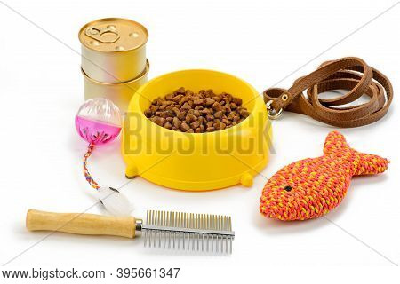 Pet Food And Accessories On White Background