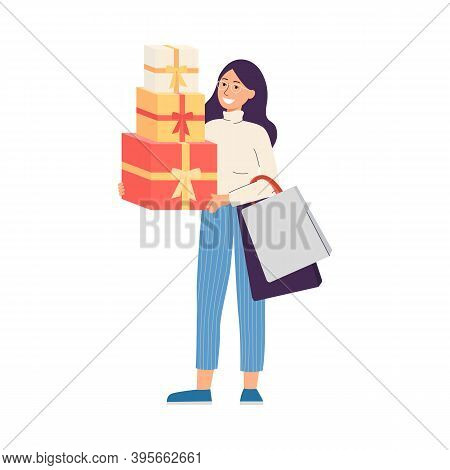 Happy Woman Shopper With Lot Of Bags And Holiday Gifts A Vector Illustration