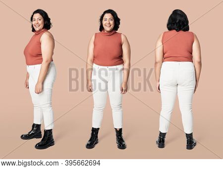 Size inclusive fashion orange top and white jeans mockup