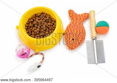 Bowl Of Crunchy Kibbles, Balls, Fish Toy And Brush