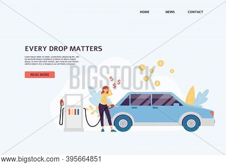 Vector Landing Page Template With Concept Of Petrol Economy And Saving Money