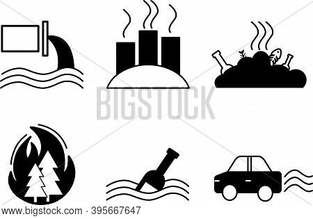 Vector Icons Of Environmental Pollution. Environmental Protection Symbols. Ecological Catastrophy. W