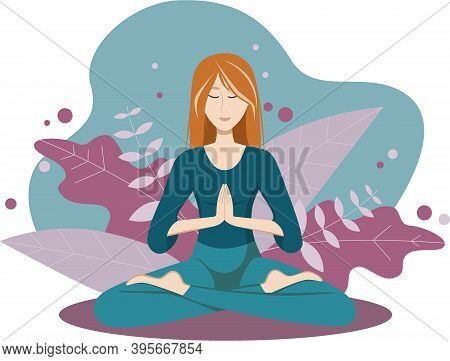 Girl Meditates In The Lotus Position. Namaste Yoga. The Lotus Position In Yoga.