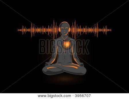 Vektor-Illustration des Yogas sein Herz hören