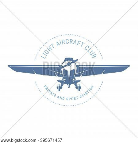 Light Aviation Emblem With Biplane , Vintage Airplane Icon,  Propeller Aircraft Front View Logo, Vec