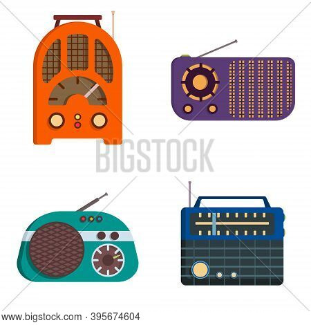 Set Of Retro Radios. Outdated Equipment In Cartoon Style.