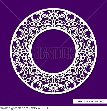 Round Frame For Photos, Pictures. Openwork Lace Pattern, Oriental Floral Ornament Of Leaves, Curls.
