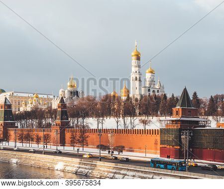 Ivan The Great Bell Tower, Church Tower Inside The Moscow Kremlin Complex. Winter Day In Moscow, Rus