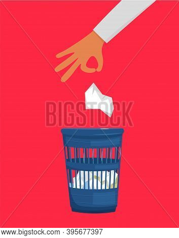A Hand Throwing Crumpled Paper To Trash. Waste Basket With Crumples. Business Frustration, Stress, W