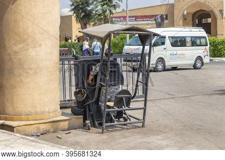 Cairo, Egypt - September 16, 2018: Egyptian Security Forces Guard The Entrance To The Touristic Area