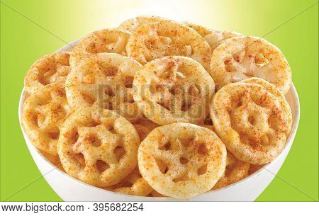 Crispy And Crunchy Salty Wheat Wheel & Wheels, Wheelos, Fryums Or Frymus, Fried And Spicy Snack Food