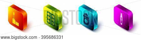 Set Isometric Mascara Brush, Eye Shadow Palette, Antiperspirant Deodorant Roll And Mascara Brush Ico