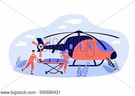 Paramedics Wheeling Gurney With Person To Ambulance Copter. Vector Illustration For Emergency, Air E