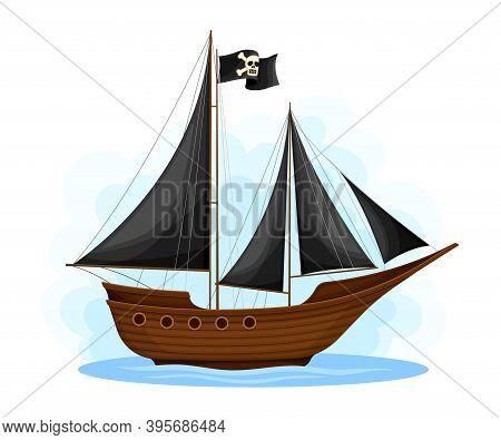 Wooden Pirate Ship Or Vessel With Black Sail And Crossbones Vector Illustration