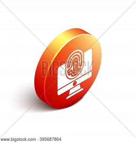 Isometric Monitor With Fingerprint Icon Isolated On White Background. Id App Icon. Identification Si