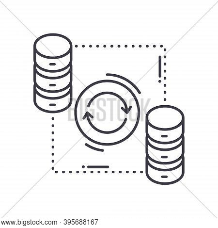 Data Synchronization Icon, Linear Isolated Illustration, Thin Line Vector, Web Design Sign, Outline