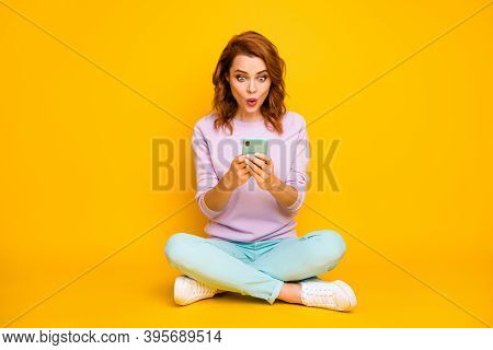 Full Size Photo Funny Woman Sit Legs Crossed Chilling Using Cell Phone Read Social Network Sales Nov