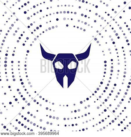 Blue Buffalo Skull Icon Isolated On White Background. Abstract Circle Random Dots. Vector