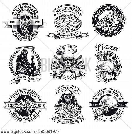 Monochrome Pizza House Emblems Vector Illustration Set. Vintage Signs Or Stickers With Grim Reaper E