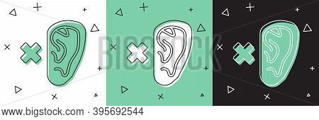 Set Deafness Icon Isolated On White And Green, Black Background. Deaf Symbol. Hearing Impairment. Ve